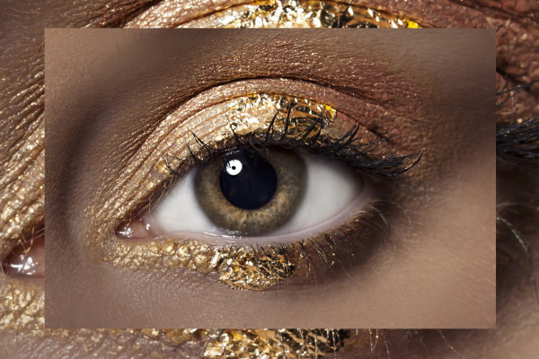 Gold macro eye makeup