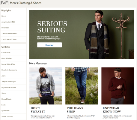 Tesco F+F banners for menswear